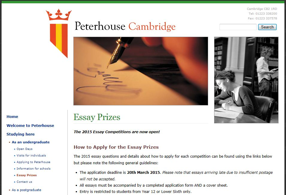 Peterhouse essay