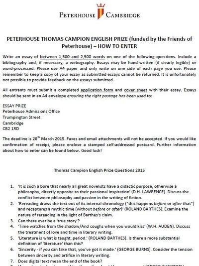 english essay competition cambridge List of cambridge essay competitions (self6thform)  peterhouse for science ( kelvin), history (velacott) and english (thomas campion.
