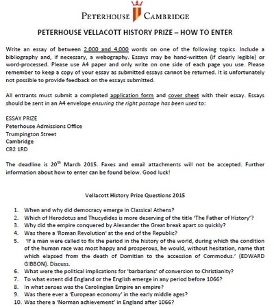 peterhouse essay competition 2015